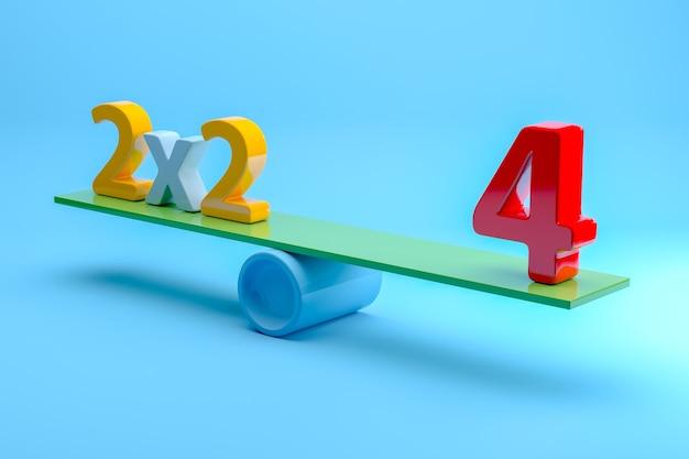 Число 2x2 = 4 балансирует на синем фоне. 3d-рендеринг