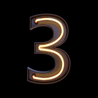 Number 3, alphabet. neon retro 3d number isolated on a black background with clipping path. 3d illustration.