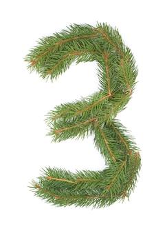Number 3-空白のクリスマスのモミの木で作られました