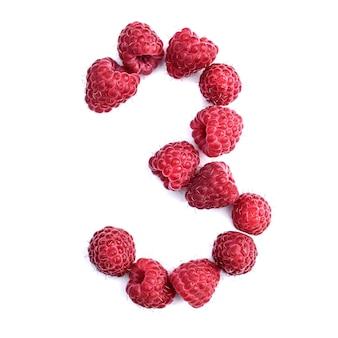 Число 3 красной спелой малины