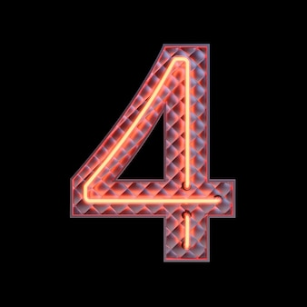 Number 4, alphabet. neon retro 3d number isolated on a black background with clipping path. 3d illustration.