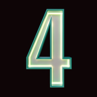 Number 4, alphabet. retro 3d number isolated on a black background with clipping path. 3d illustration.