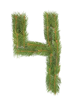 Number 4 - made of christmas fir tree on a white space