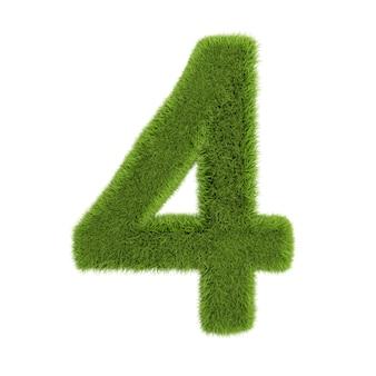 番号4、白い背景で隔離の草で作られています。シンボルは緑の草で覆われています。エコレター。 3dイラスト。 Premium写真