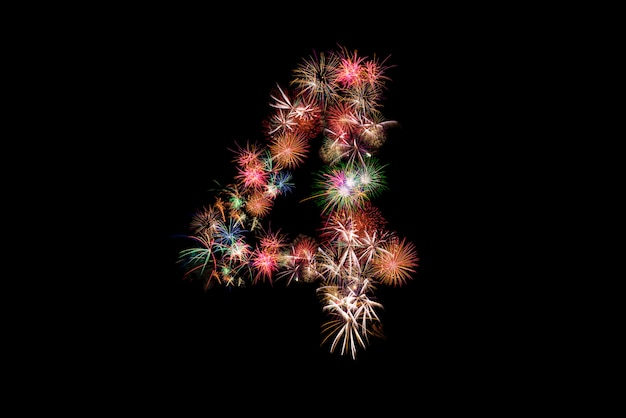 Number 4. number alphabet made of real fireworks.