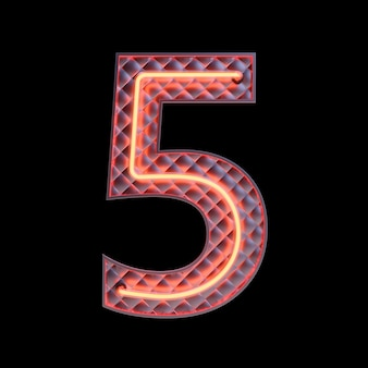 Number 5, alphabet. neon retro 3d number isolated on a black background with clipping path. 3d illustration.