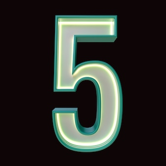 Number 5, alphabet. retro 3d number isolated on a black background with clipping path. 3d illustration.