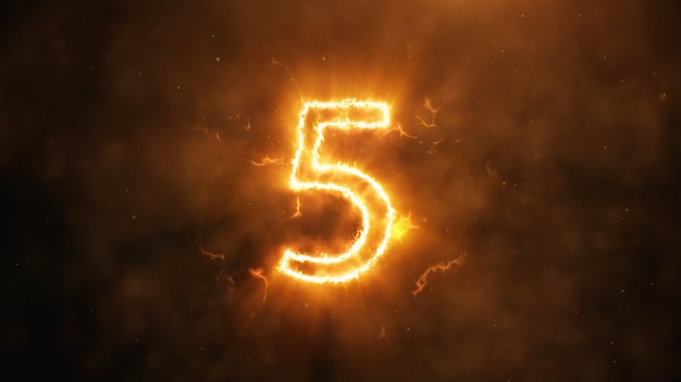 Number 5 in flames