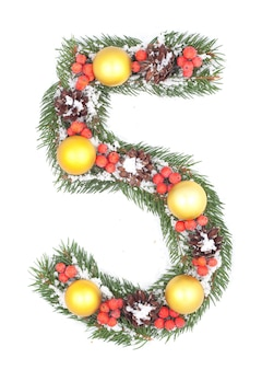Number 5 made of christmas fir branch and decorations