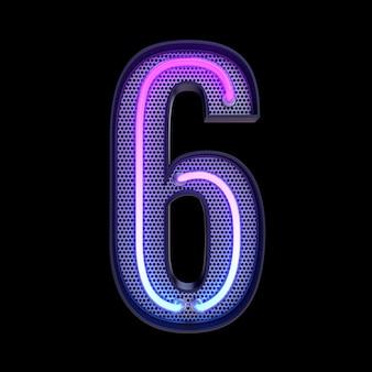 숫자 6, 알파벳. 클리핑 패스와 함께 검은 배경에 고립 된 네온 복고풍 3d 번호. 3d 그림입니다.