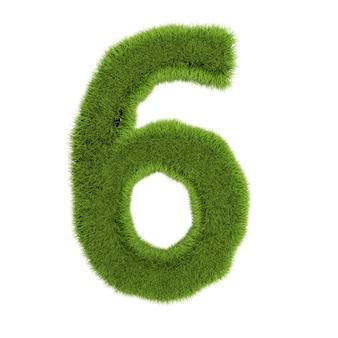 番号6、白い背景で隔離の草で作られました。シンボルは緑の草で覆われています。エコレター。 3dイラスト。