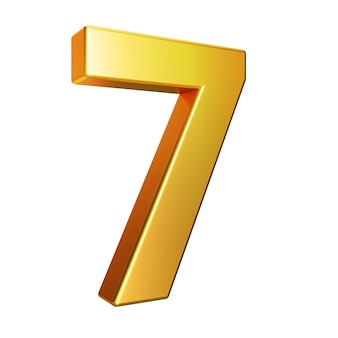 Number 7, alphabet. golden 3d number isolated on a white background with clipping path. 3d illustration.