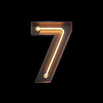 Number 7, alphabet made from neon light