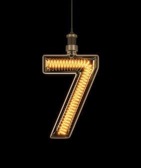 Number 7, alphabet made of light bulb.
