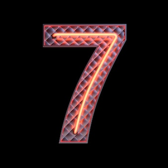 Number 7, alphabet. neon retro 3d number isolated on a black background with clipping path. 3d illustration.
