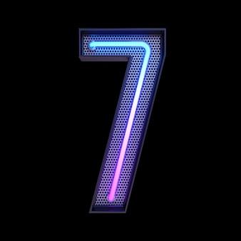 숫자 7, 알파벳. 클리핑 패스와 함께 검은 배경에 고립 된 네온 복고풍 3d 번호. 3d 그림입니다.