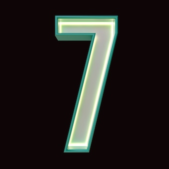 Number 7, alphabet. retro 3d number isolated on a black background with clipping path. 3d illustration.