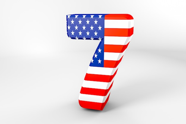 Number 7 with the american flag. 3d rendering - illustration
