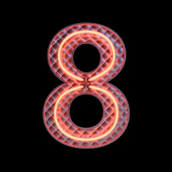 Number 8, alphabet. neon retro 3d number isolated on a black background with clipping path. 3d illustration.