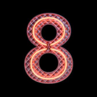 숫자 8, 알파벳. 클리핑 패스와 함께 검은 배경에 고립 된 네온 복고풍 3d 번호. 3d 그림입니다.