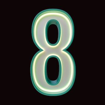 Number 8, alphabet. retro 3d number isolated on a black background with clipping path. 3d illustration.