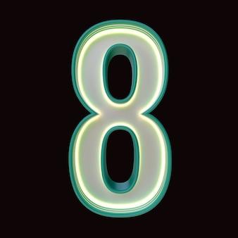 숫자 8, 알파벳. 클리핑 패스와 함께 검은 배경에 고립 된 레트로 3d 번호. 3d 그림입니다.