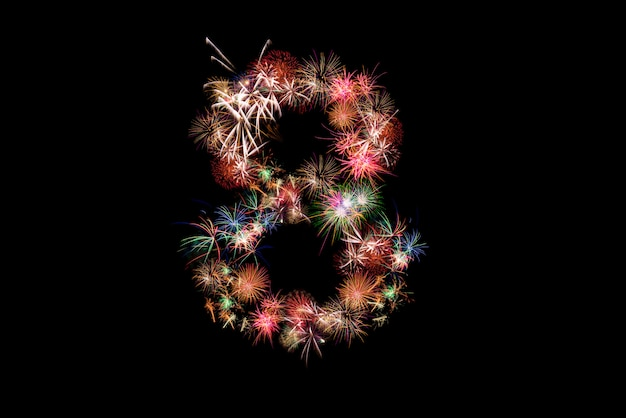 Number 8. number alphabet made of real fireworks.