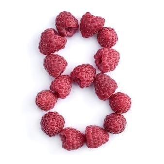 Число 8 красной спелой малины