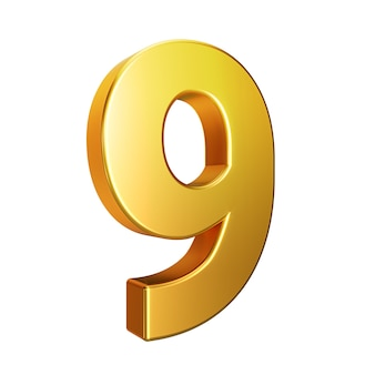Number 9, alphabet. golden 3d number isolated on a white background with clipping path. 3d illustration.
