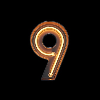 Number 9, alphabet made from neon light