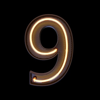 Number 9, alphabet. neon retro 3d number isolated on a black background with clipping path. 3d illustration.