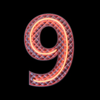 Number 9 alphabet neon retro 3d number isolated on a black background with clipping path