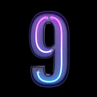 숫자 9, 알파벳. 클리핑 패스와 함께 검은 배경에 고립 된 네온 복고풍 3d 번호. 3d 그림입니다.