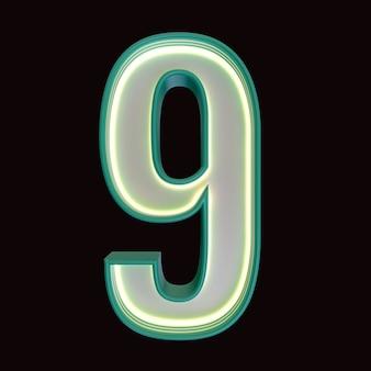 숫자 9, 알파벳. 클리핑 패스와 함께 검은 배경에 고립 된 레트로 3d 번호. 3d 그림입니다.