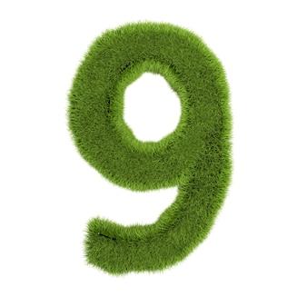 番号9、白い背景で隔離の草で作られました。シンボルは緑の草で覆われています。エコレター。 3dイラスト。