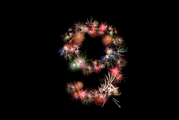 Number 9. number alphabet made of real fireworks.