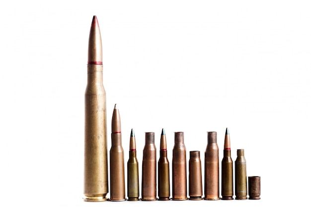 A number of bullets on a white isolated