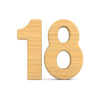 Number eighteen on white