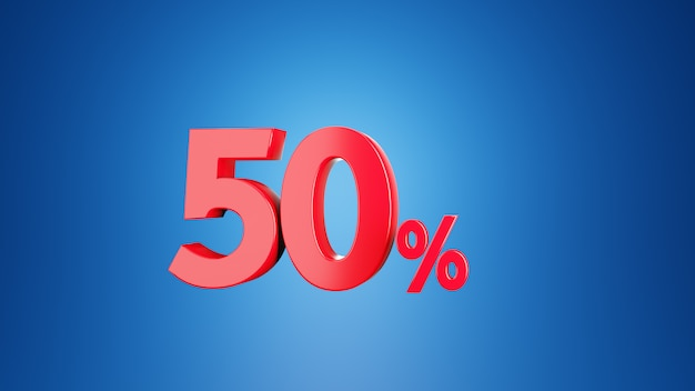 50%割引または50%付加価値税のコンセプトの数50%。青色の背景に3d.3dレンダリング