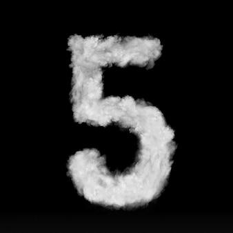 Номер пять из белых облаков или дыма на черной стене с копией пространства, а не визуализации.