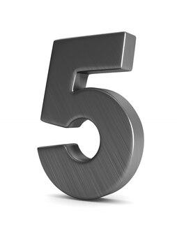 Номер пять на белом фоне. изолированная 3-я иллюстрация