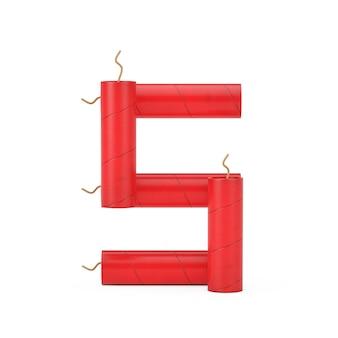 Номер пять или 5 как собрание номеров алфавита палок динамита на белом фоне. 3d рендеринг