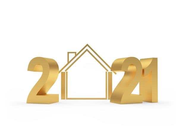 Номер золотой 2021 с иконой дома