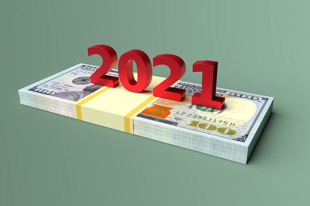 Number of new year 2021 on money dollars