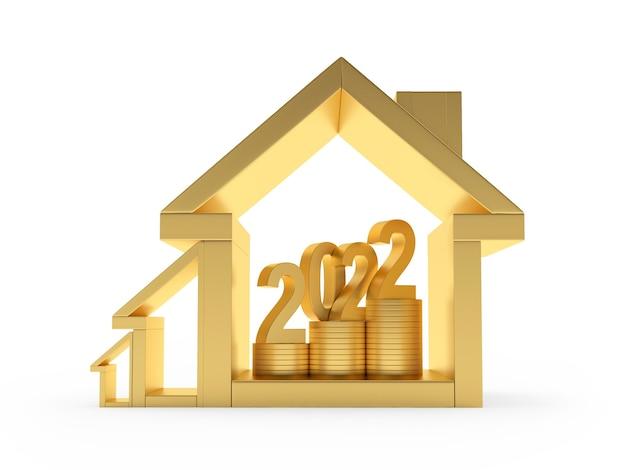 Номер новый год на монетах в золотых иконах домов