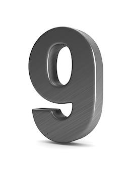 Номер девять на белом фоне. изолированная 3-я иллюстрация