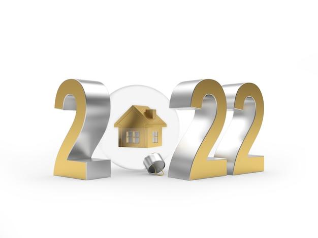 Число нового года и значок дома в прозрачном новогоднем шаре