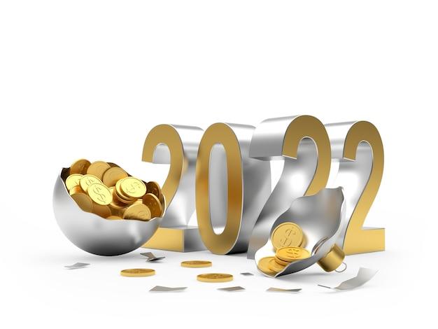 Число нового года с монетами в сломанном елочном шаре