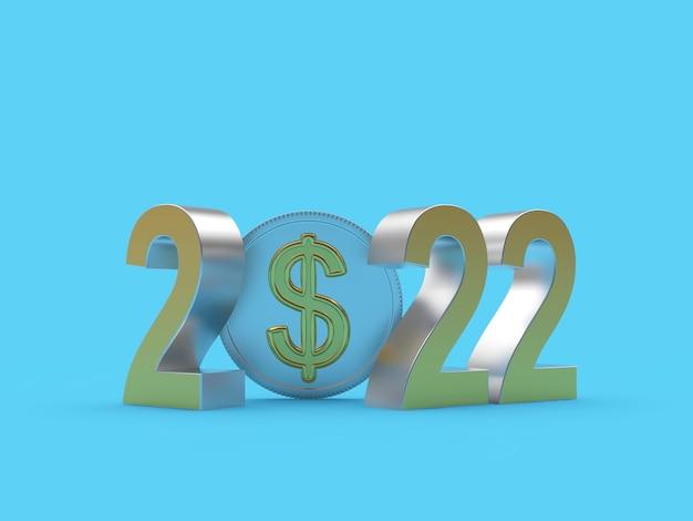 Число нового года с долларовой монетой