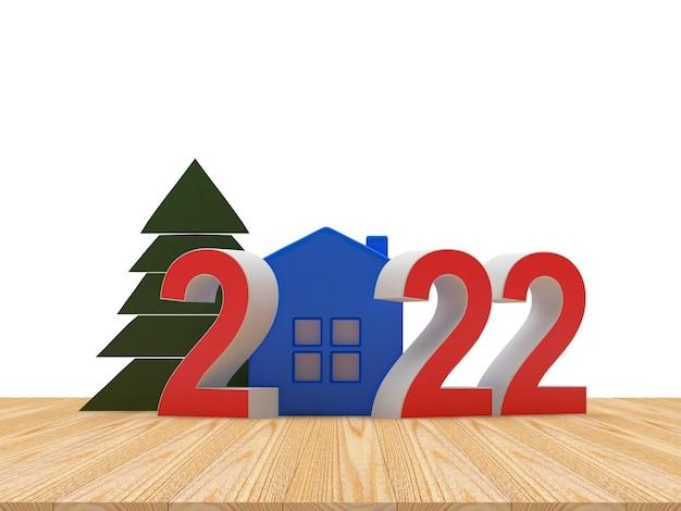 Bhouseとクリスマスツリーのある新年の数